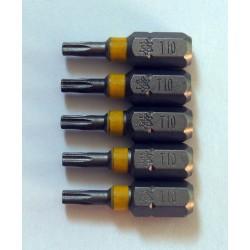 5 Embouts torx de 10 tx10 longueur 25mm