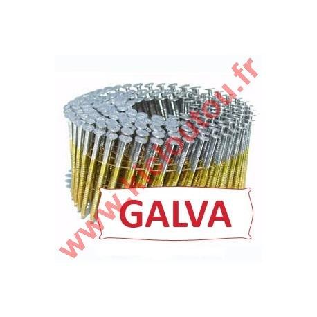 Pointes 16° 2.1x32 mm crantées galva en rouleaux plats fil métal