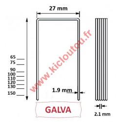 Agrafes BS 75 mm Galva - Boite de 1000 pour panneau isolant épais