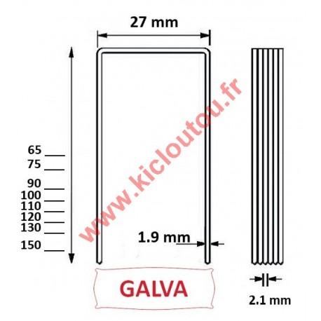 Agrafes BS 90 mm Galva - Boite de 1000 pour panneau isolant épais