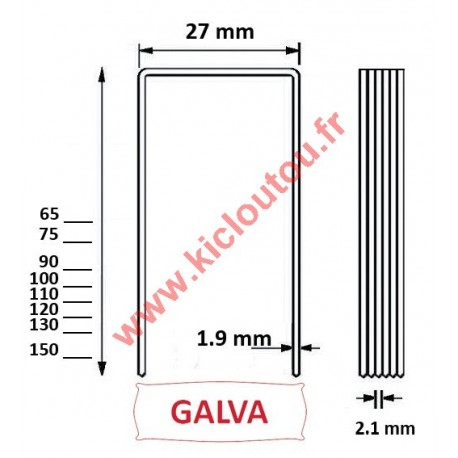 Agrafes wp 110 mm Galva - Boite de 1000 pour panneau isolant épais