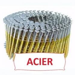Pointes 16° 2.1x45 mm crantées en rouleaux plats fil métal X 12600