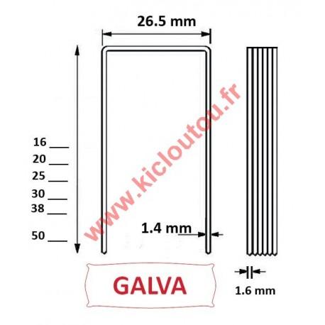 Agrafes W5562 - 50mm Galva - Boite de 10000 compatible Alsafix WS
