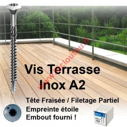 Vis terrasse 5x50 / 30 Inox A2 boite de 200 TX25