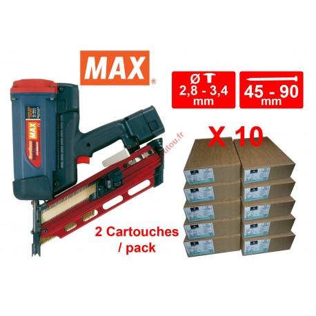 Lot Cloueur gaz MAX GS690 CH avec 10 packs 3.1x70 Acier