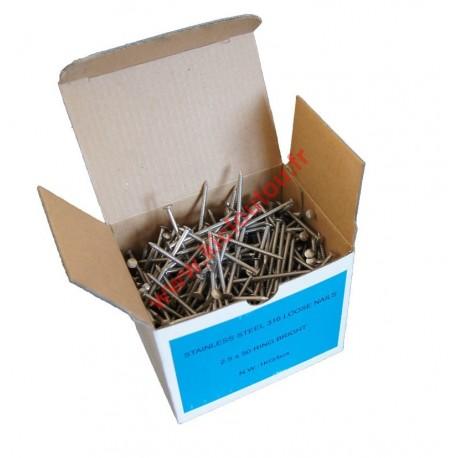 Pointes vrac 2.5x45 annelée inox A4 boite de 1Kg pour bardage