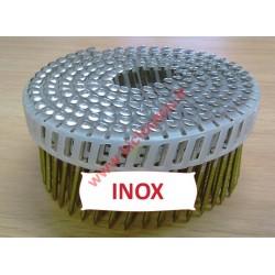 Pointes 16° 2.3x45 mm crantées INOX A2 TB en rouleaux plats fil PVC