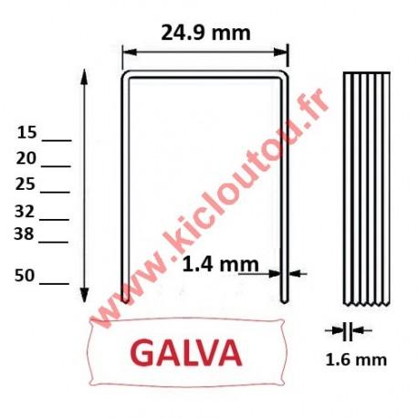 Agrafes 16WC / S2 - 15mm Galva - Boite de 20000