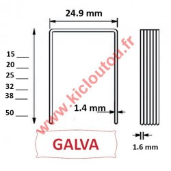 Agrafes 16WC / S2 - 25mm Galva - Boite de 10000