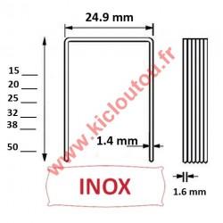Agrafes 16WC / S2 - 30mm inox 304 pour toile goudronnée et shingle