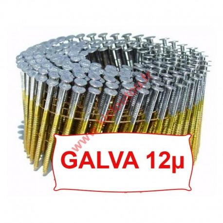 Clous rouleau 16° 2.5x68 mm crantées galva 12µ service class 2