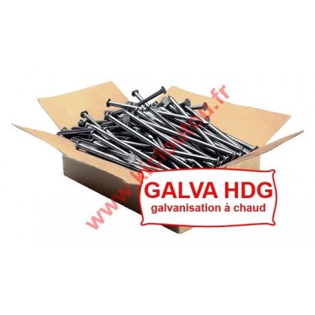 Pointe tête plate galvanisé à chaud HDG 6X160 Lisse5KG