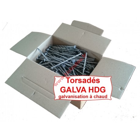 Clou tête plate galva HDG 2.8X60 torsadé spiralé 5KG
