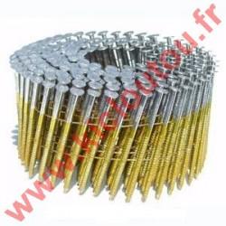Clous en rouleaux 16° de 70 mm crantées plats fil métal au détail