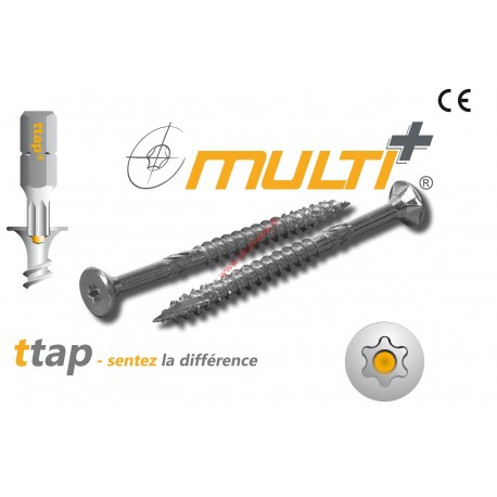 Vis technique Multi-plus vis bois 6x90 /50 torx30 zinguée - 100 vis Multi+