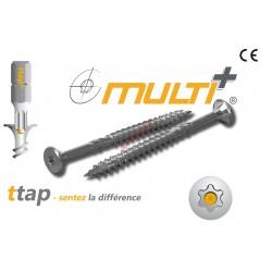 Vis bois Multi+ 6x140 /70 TF TX30 zinguée - Boite de 100 vis