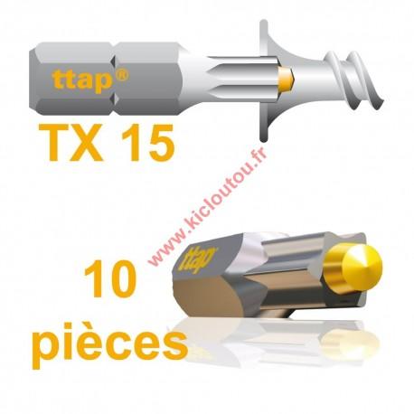 Embouts Torx Ttap TX15 25mm Blister de 10 embouts