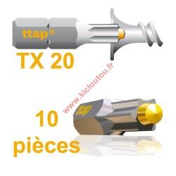 Embouts Torx Ttap TX20 25mm Blister de 10 embouts