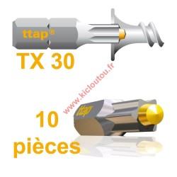 Embouts Torx Ttap TX30 25mm Blister de 10 embouts pour vis ttap