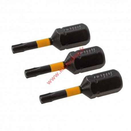 3 Embouts vissage chocs T10 25mm torx de 10 Triton 619711