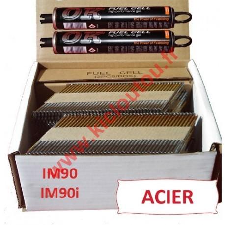 Pack 2200 clous 2.8x70 CRANTEES ACIER pour Paslode IM90I/IM90