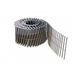 Pointes 16° 2.8x80 mm spiralées en rouleaux plats fil métal