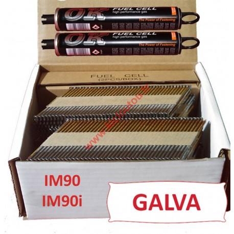 Pack 2200 clous 3.1x63 CRANTEES GALVA pour Paslode IM90I/IM90