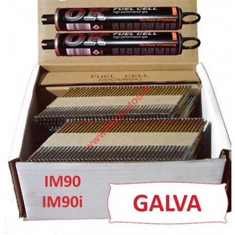 Pack 2200 clous 2.8x70 CRANTEES GALVA pour Paslode IM90I/IM90