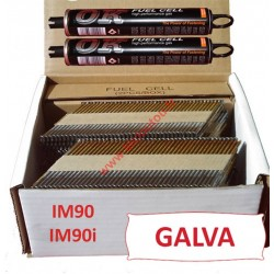 Pack 2200 clous 3.1x90 CRANTEES GALVA pour Paslode IM90I/IM90