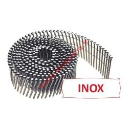 250 clous en rouleau 16° de 2.8x80 mm crantées INOX A2 TB fil inox pose bardage claire voie
