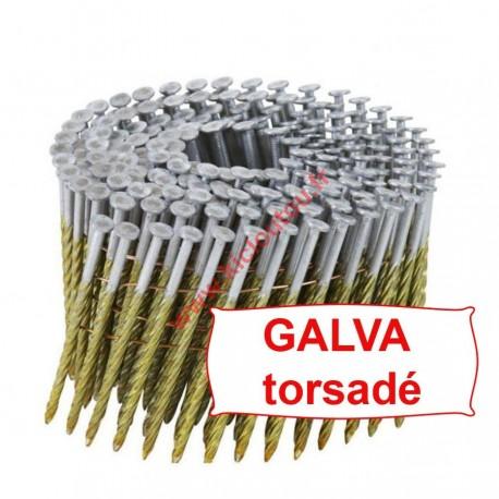 Pointes 16° 3.25x100 mm spiralées galva en rouleaux plats fil métal X 3600