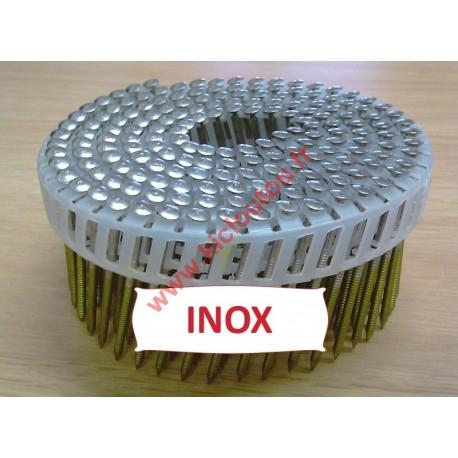 Pointes 16° 2.1x38 mm crantées INOX A2 TB en rouleaux plats fil PVC