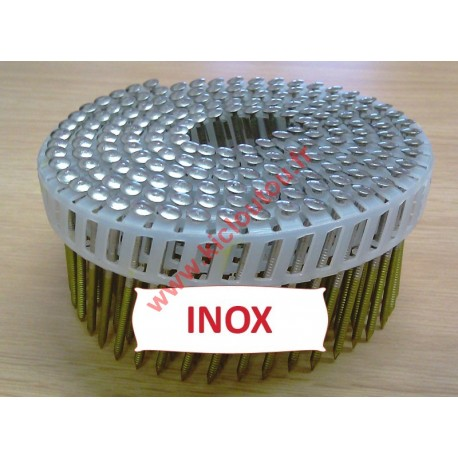 Pointes en rouleaux plats fil PVC 16° 2.3x50 mm crantées INOX A4 TB