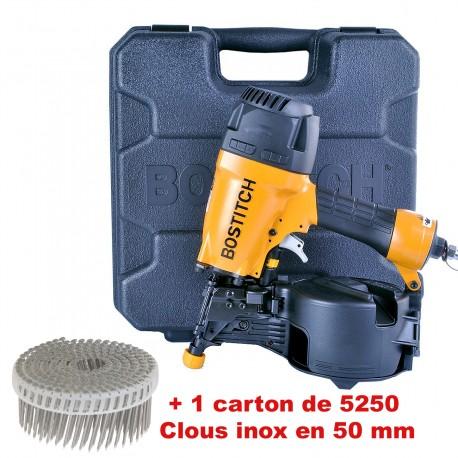 Lot Bardage BOSTITCH N66C-2-E + 5250 CLOUS INOX 2.3x50mm liaison PVC