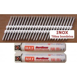 Pack pointes 34° INOX 3.1x50 TB CRANTEES boite de 2200 AVEC gaz