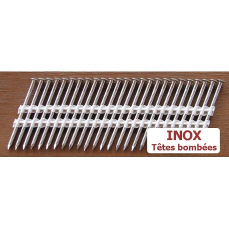 Pointes 34° INOX 3.1x55 TB CRANTEES boite de 2000 SANS gaz
