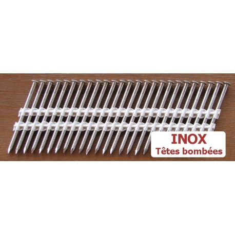 Pointes 34° INOX 3.1x63 TB CRANTEES boite de 2000 SANS gaz