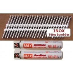 Pack pointes 34° INOX 3.1x63 TB CRANTEES boite de 2000 AVEC gaz