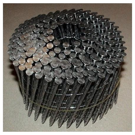 Pointes 16° 2.5x68 mm spiralées en rouleaux plats fil métal