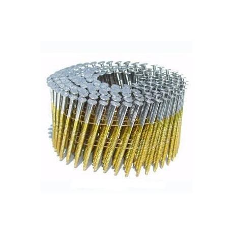 Pointes 16° 2.5x55 mm crantées en rouleaux plats fil métal