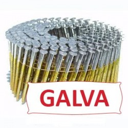 Pointes 16° 2.5x55 mm crantées galva en rouleaux plats fil métal X 9000