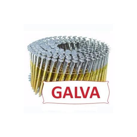 Pointes 16° 2.5x65 mm crantées galva en rouleaux plats fil métal