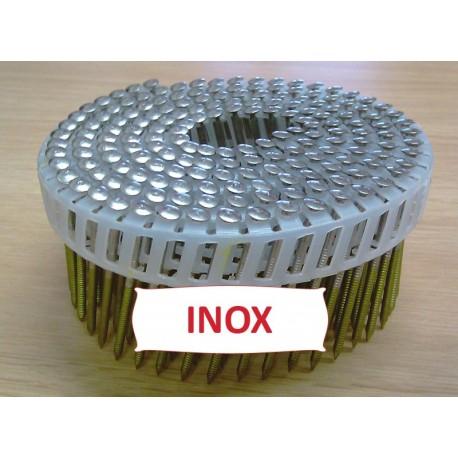 Pointes 16° 2.6x50 mm crantées INOX A2 TB en rouleaux plats fil PVC