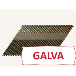 Pointes 34° crantées GALVA 2.8x70 boite de 2200 SANS gaz