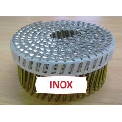 Pointes 16° 2.1x45 mm crantées INOX A2 TB en rouleaux plats fil PVC