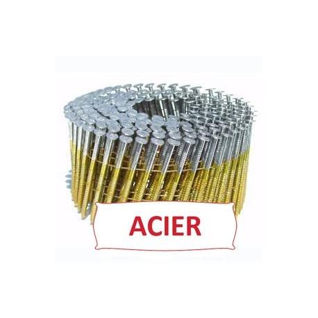 Pointes 16° 2.3x55 mm crantées en rouleaux plats fil métal