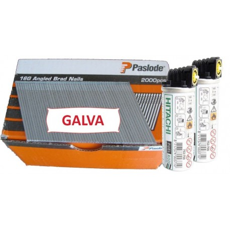 Pack 2000 clous TH F16/45 mm + gaz IM65A/250A Angle Brads Galva 20°
