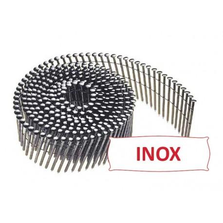 Pointes 16° 2.3x55 mm crantées INOX A2 TB en rouleaux plats fil inox