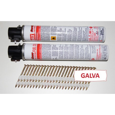 Pack Pointes 20° GALVA TORSADEES 2.8x60 boite de 2000 AVEC gaz