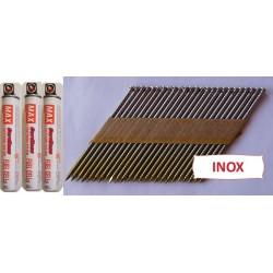 Pack pointes 34° INOX 3.1x80 TDP CRANTEES boite de 3000 AVEC gaz